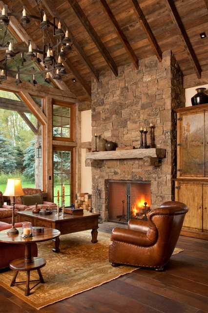 Stunning Dark Wooden Rustic Living Room