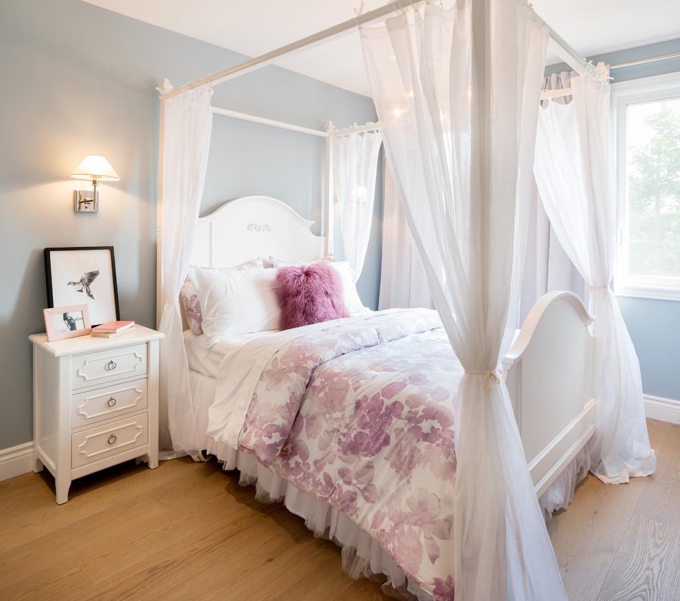 Traditional girl Bedroom With Beige tone wood floor dwellingdecor