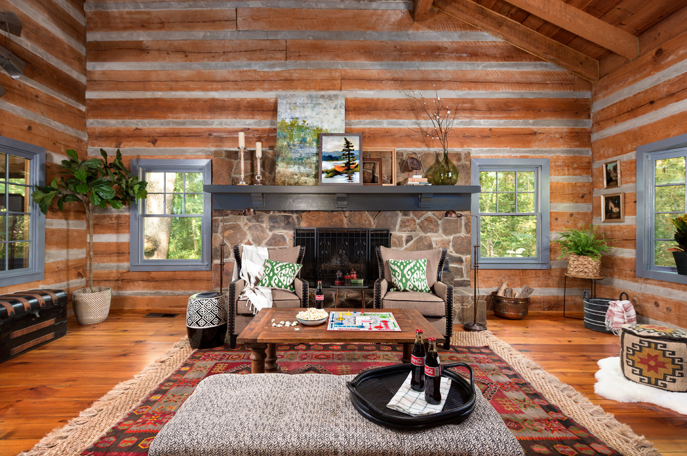 large rustic open concept medium tone wood floor living room dwellingdecor