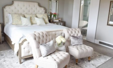 All White Tufted Bed With Bedside Table