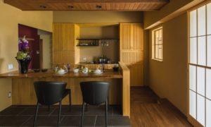 Asian Galley Dark Wood Floor Open Concept Kitchen