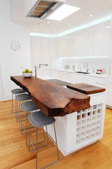 Modern Kitchen With Raw wood Island