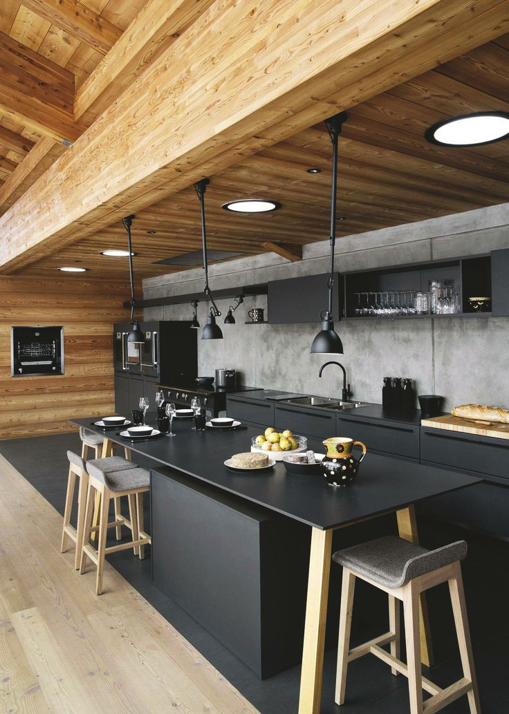 Sleek Black & Brown Combination Kitchen Design