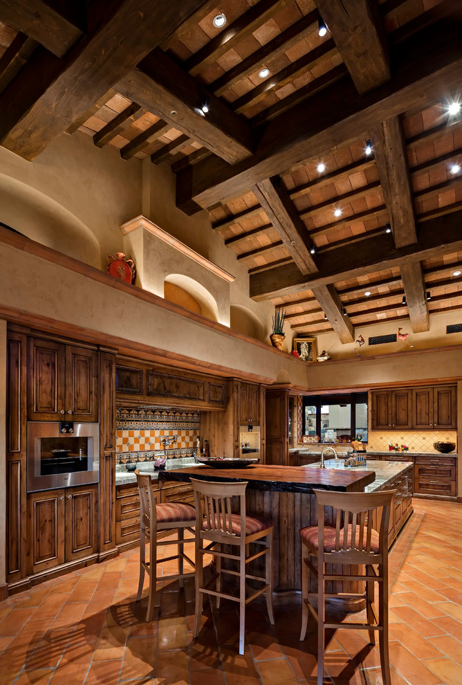 southwestern Traditional Kitchen With Exposed Beams