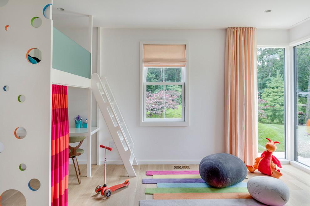 All White Contemporary Playroom Decor dwellingdecor