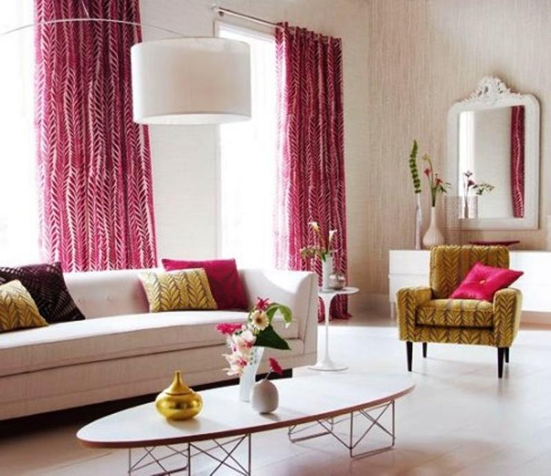 Beautiful Pink Living Room Curtains dwellingdecor