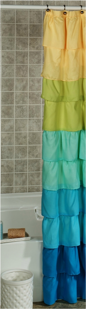 Colored Ruffled Shower Curtain dwellingdecor