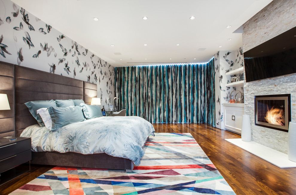 Contemporary Bedroom With Stunning Large Colorful Curtains Dwellingdecor