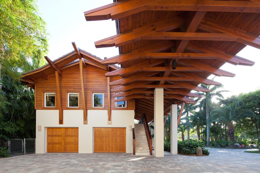 Island Style Two-car Open Concept Garage Design Dwellingdecor