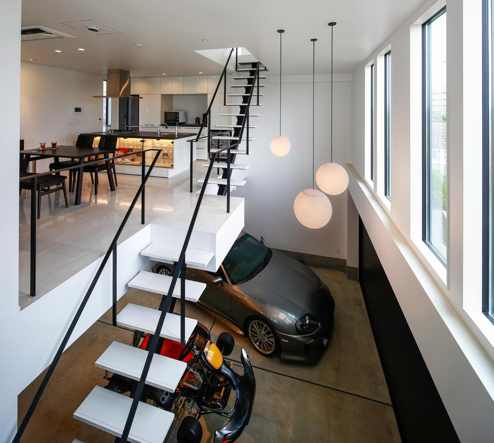 Modern Atrtached Garage Design Under Stairs Dwellingdecor