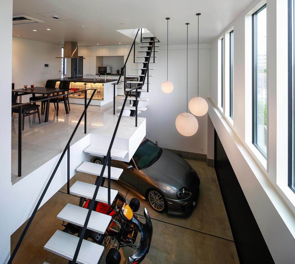 Modern Atrtached Garage Design Under Stairs Dwellingdecor