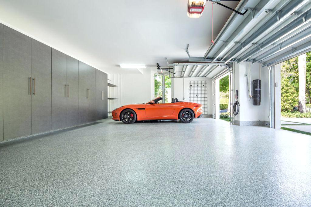 Modern Garage With Simple Granite Floors Dwellingdecor