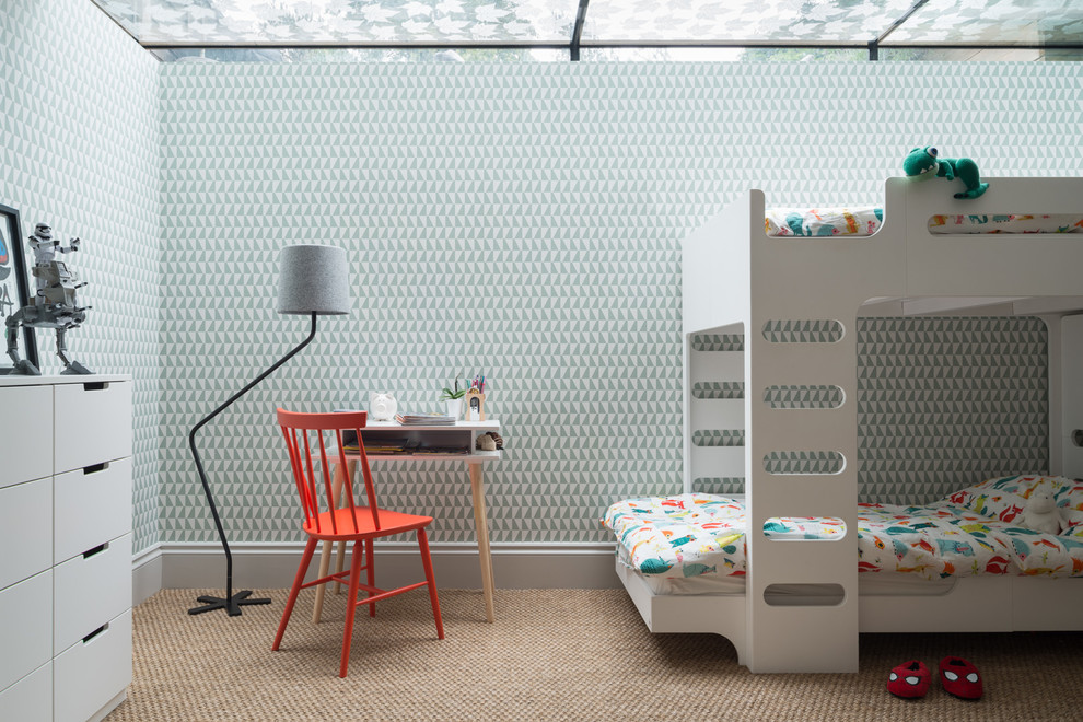 Scandinavian Kids Bedroom With Beige Walls Dwellingdecor