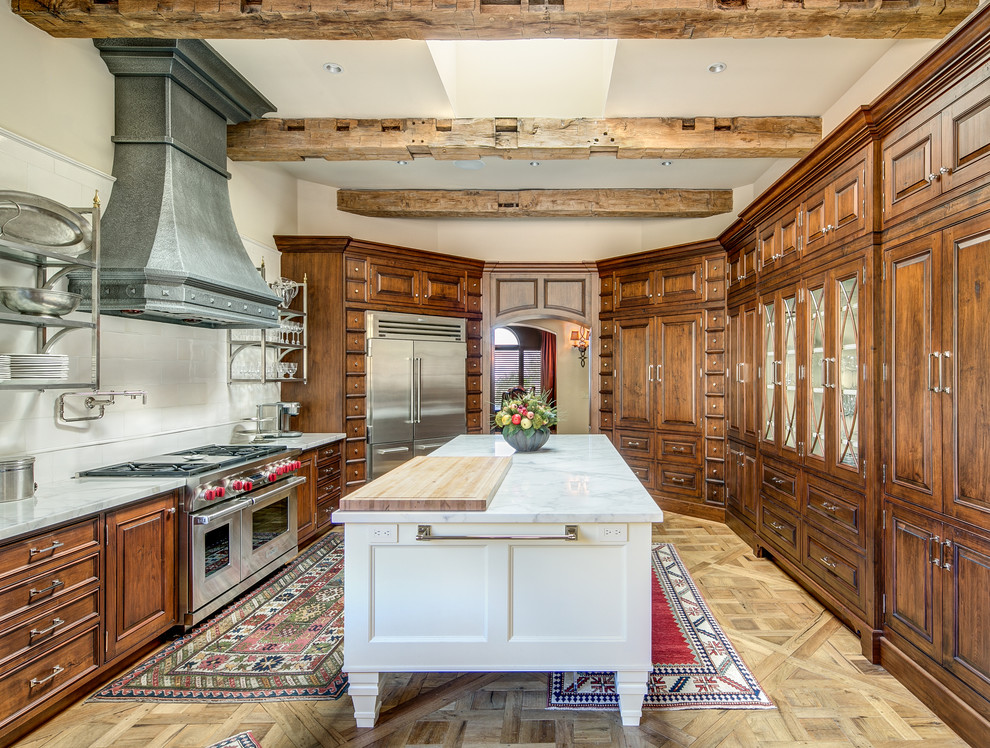 Southwestern Light Wood Floor Enclosed Kitchen With An Island Dwellingdecor