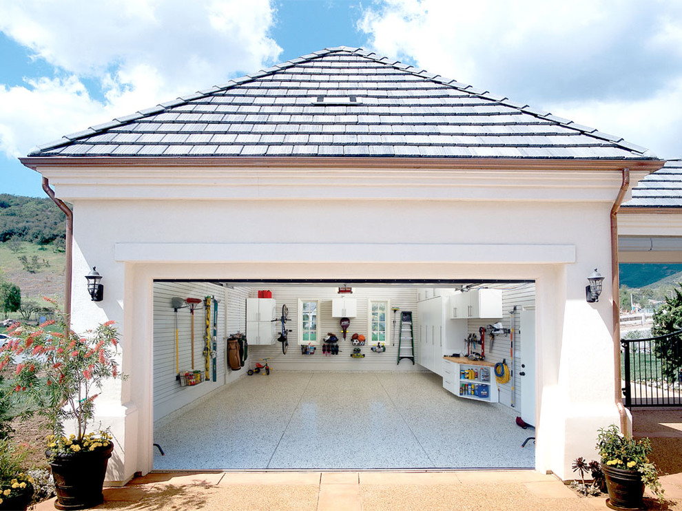 Traditional Attached Garage With Granite Flooring Dwellingdecor