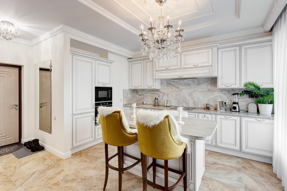Traditional I Shaped Kitchen With Small Island Dwellingdecor