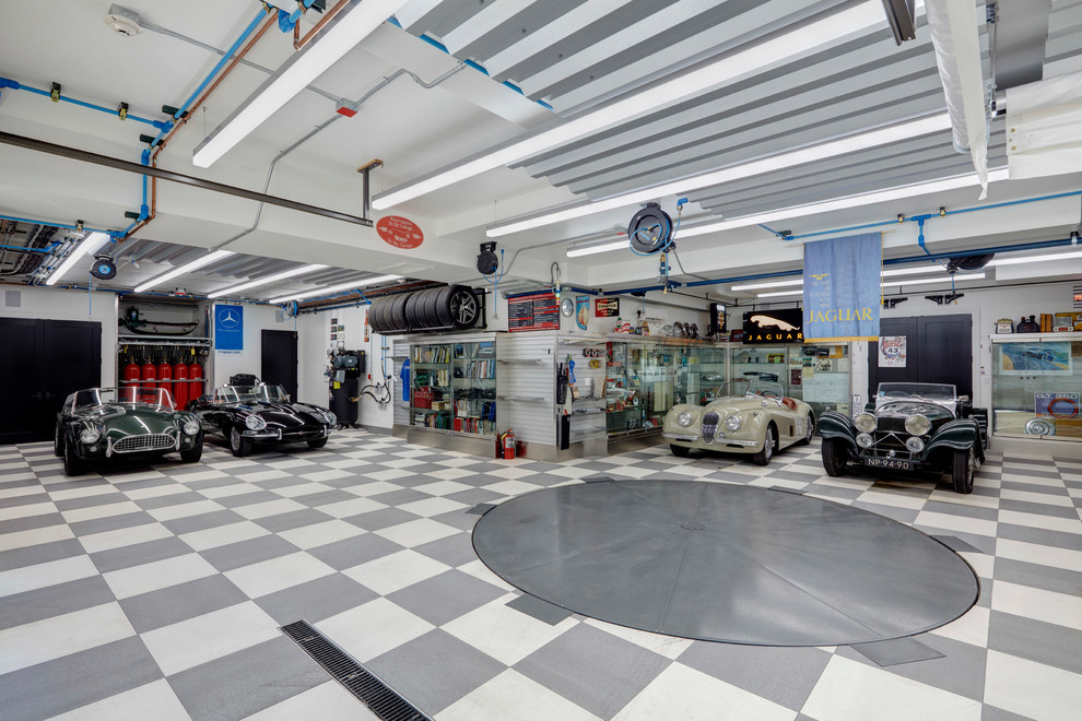 Transitional Four Car Garage Workshop Dwellingdecor