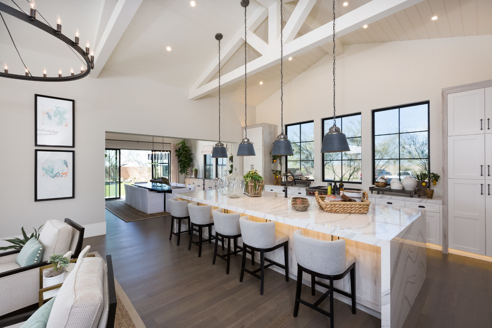 Transitional Open Concept Kitchen With An Island Dwellingdecor