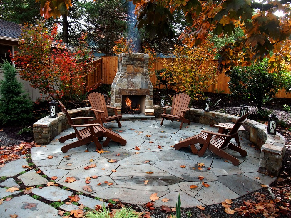 Laid-back Garden Patio With Fireplace Dwellingdecor