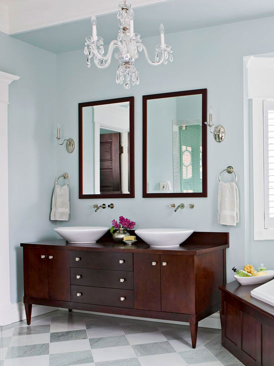 Luxurious Bathroom With Crystal Chandelier Dwellingdecor