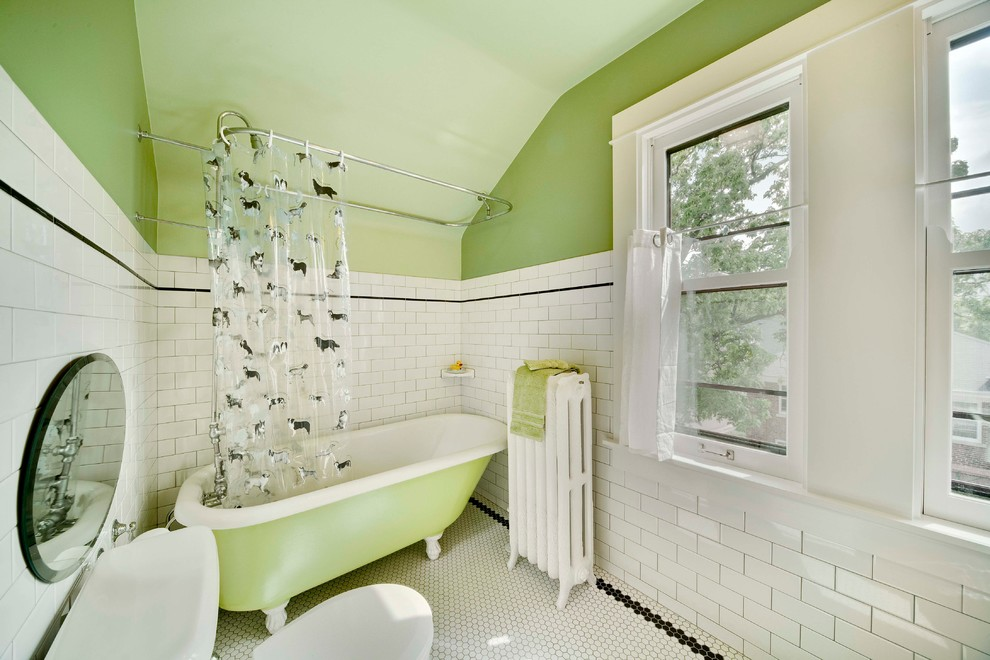 Master Bathroom Remodel with Small Bathtub & Large windwos