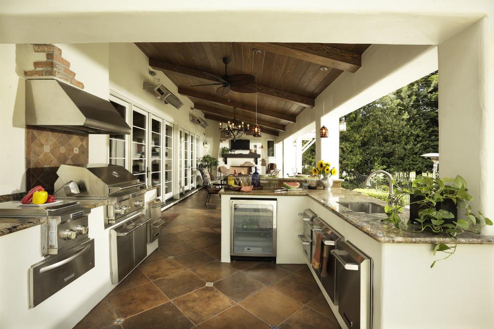 Mediterranean Patio With Outdoor Kitchen Dwellingdecor
