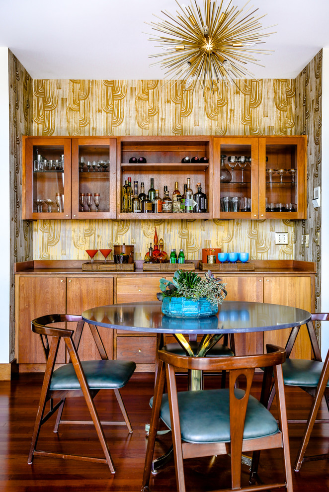 Mid-sized Midcentury Modern Single-wall Home Bar Dwellingdecor