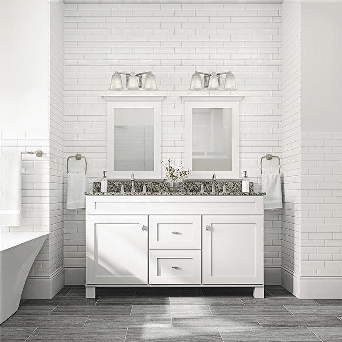 Modern Bathroom With Vanity Lights Dwellingdecor
