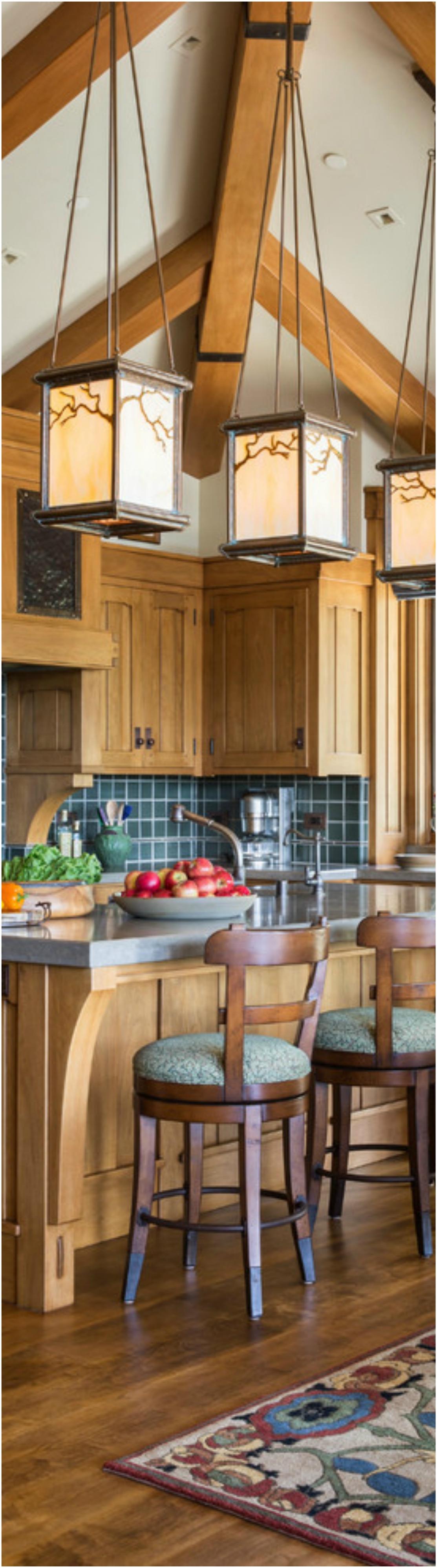 Mountain Style U-shaped Wood Floor Eat-in Kitchen Dwellingdecor