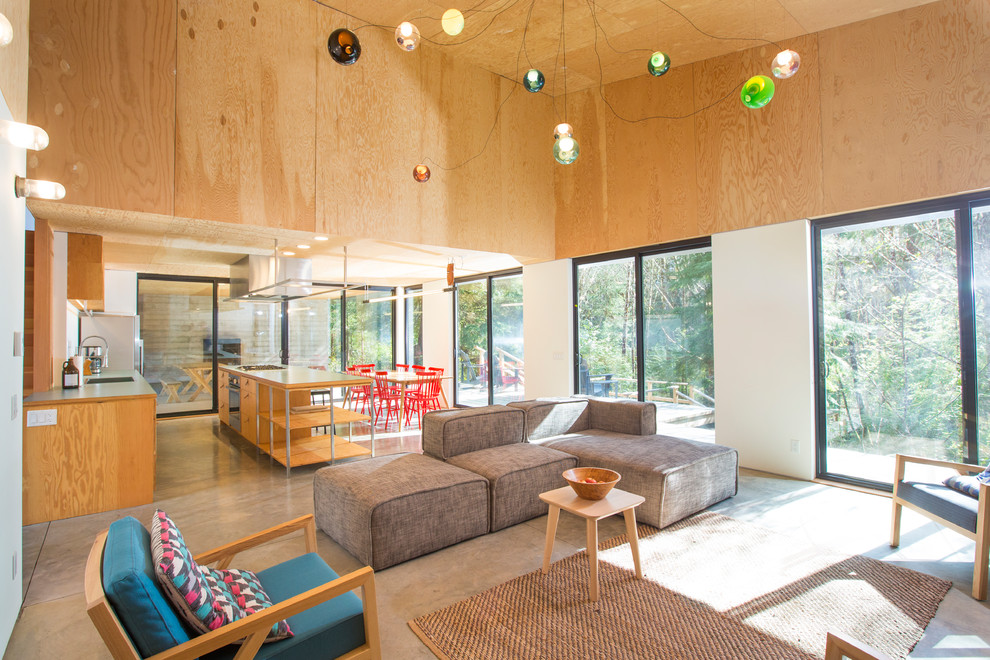 Open Concept Concrete Floor And Gray Floor Living Room Dwellingdecor
