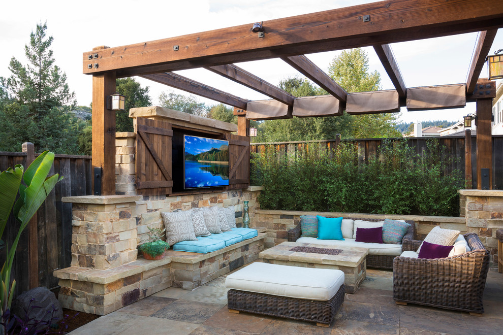 Outdoor Patio With Entertainment Unit Dwellingdecor