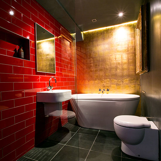 Red And Gold Bathroom With Led Lights Dwellingdecor