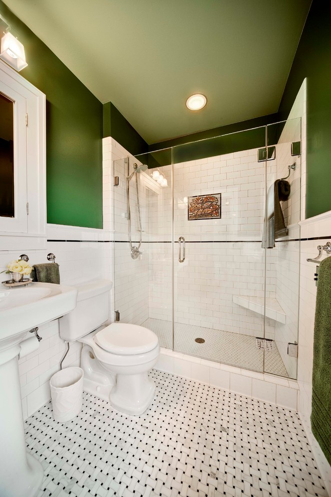 Small Master bathroom Remodel With Subway Tiles & walk In Shower
