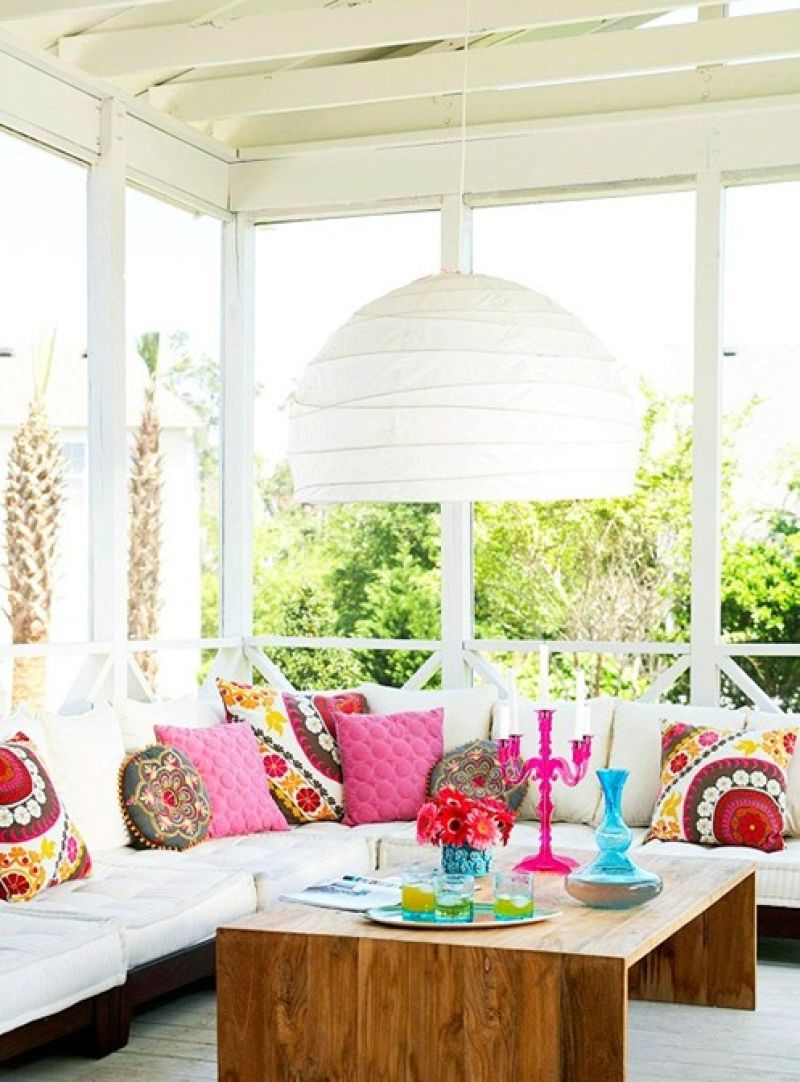 Small Patio With Bright Color Decor Dwellingdecor