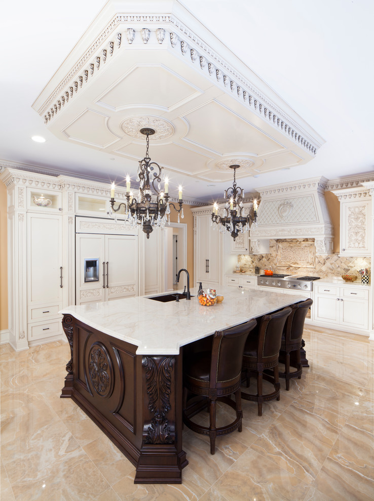 Traditional L-shaped Beige Floor Kitchen Dwellingdecor