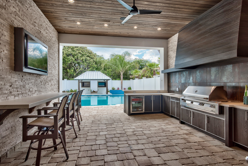 Transitional Outdoor Kitchen Dwellingdecor
