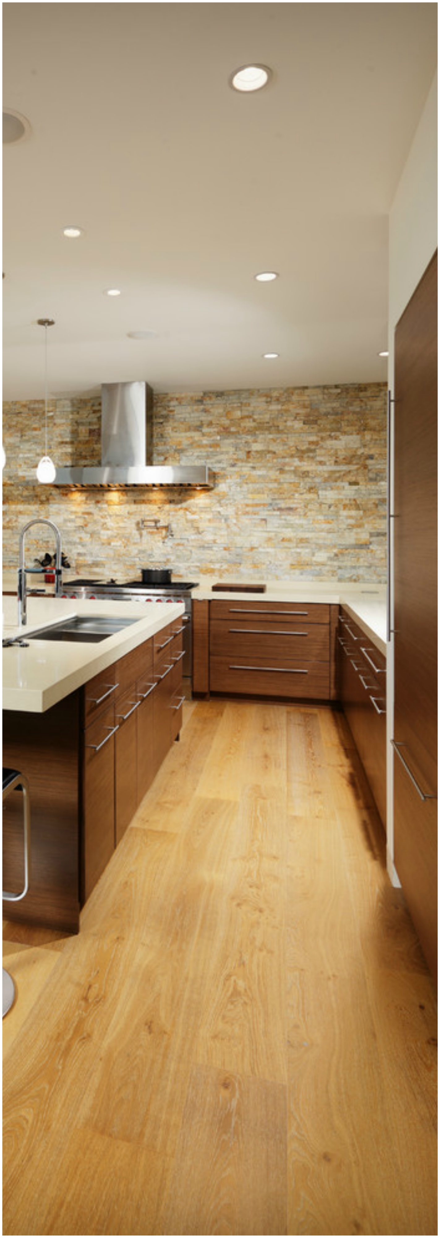 U-shaped Light Wood Floor Kitchen With Dark Wood Cabinets