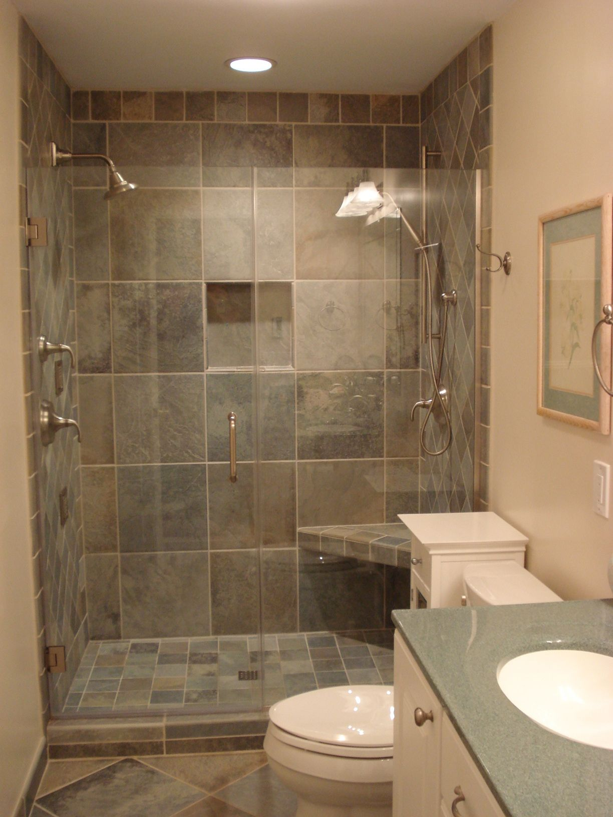 small walk in shower bathroom