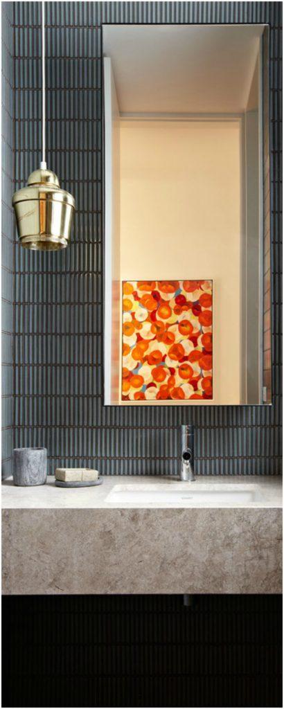 Golden Single Pendant Light in Powder Room