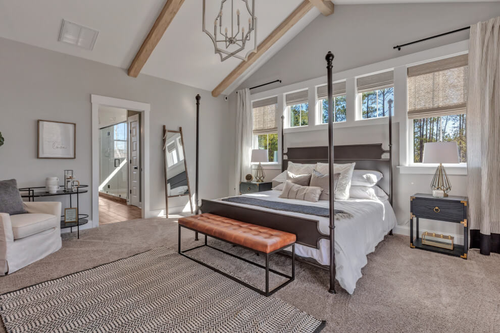 Farmhouse carpeted gray floor