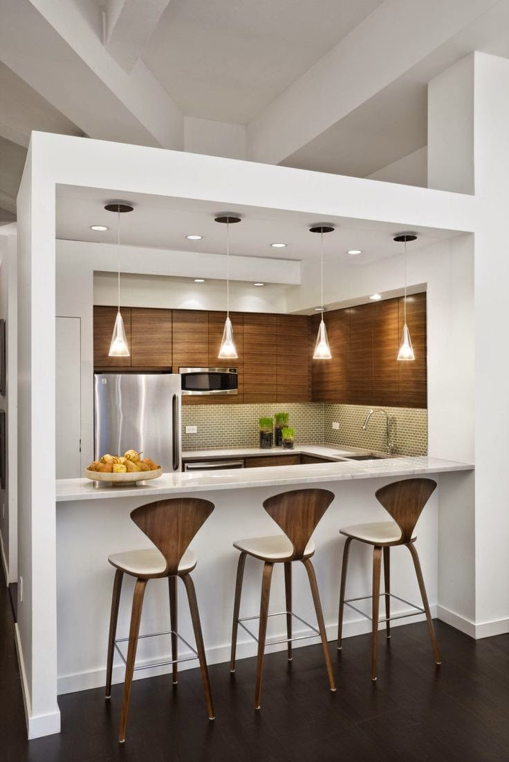 Open kitchens through a bar or island2