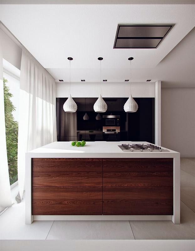 Open kitchens through a bar or island3