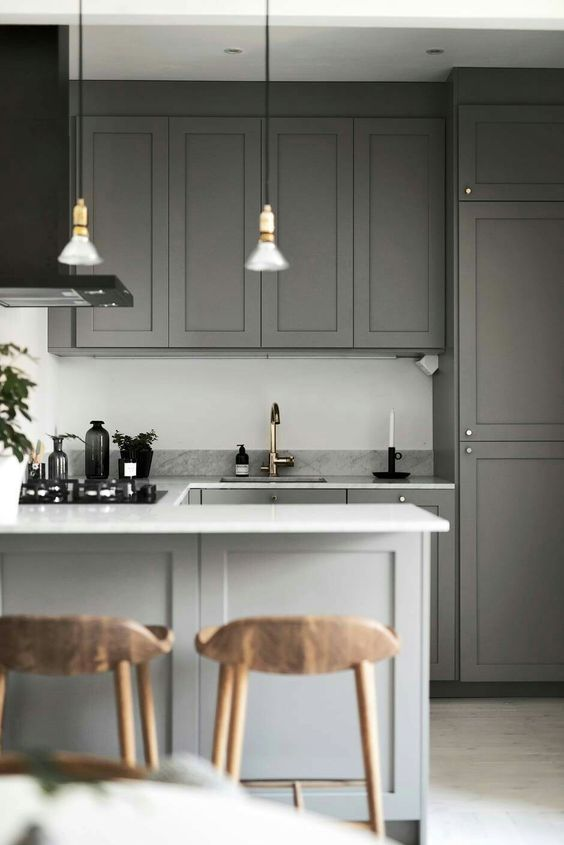 Small kitchen in grey