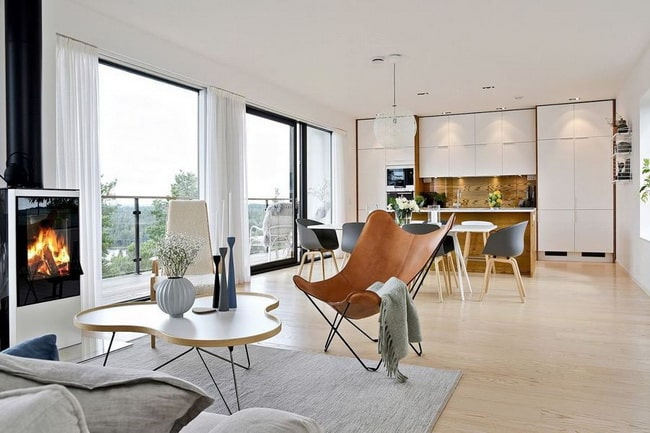 Open and integrated kitchens in the living area