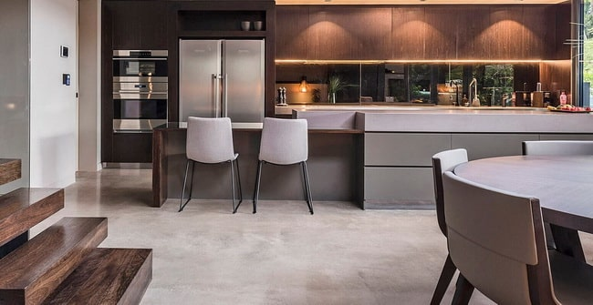 Polished concrete floors and countertops