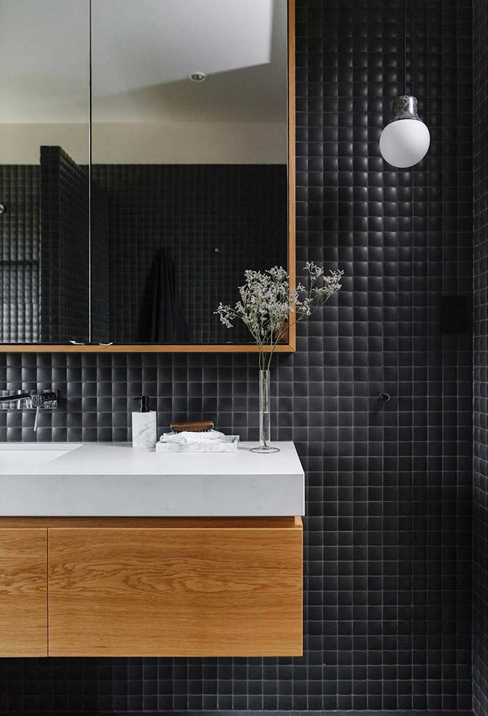 A touch of wood to break the seriousness of black.