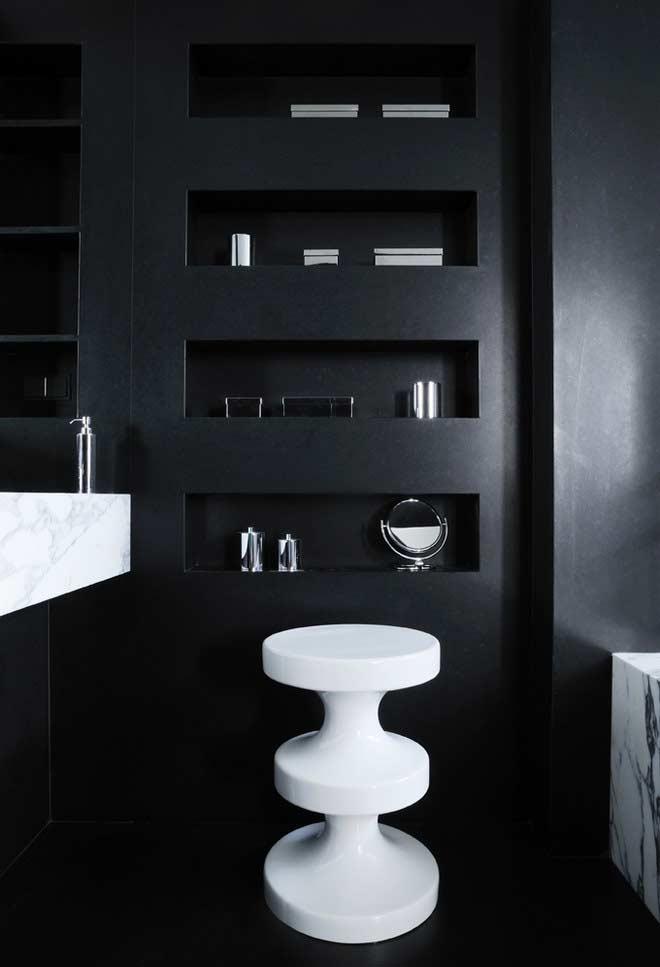 Bathroom with black coating on the walls