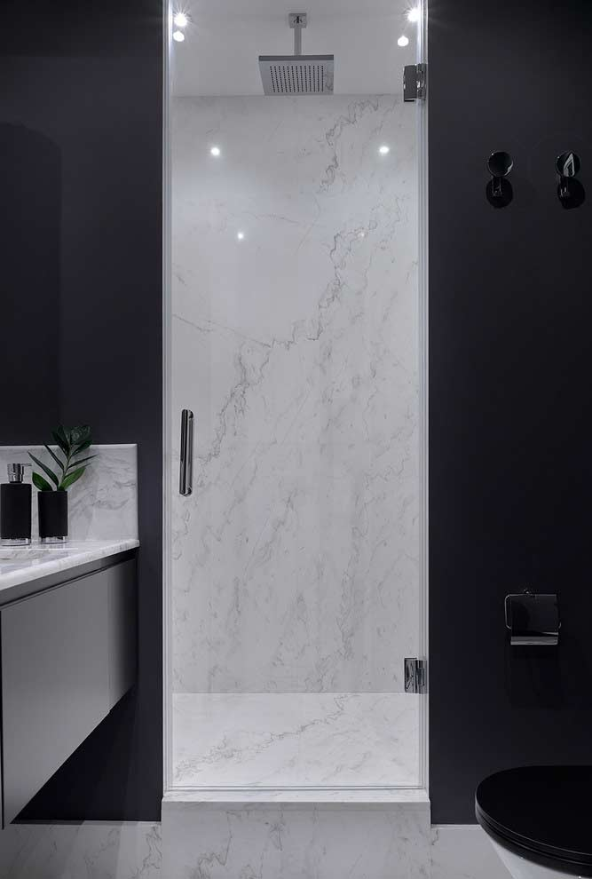 Contrast between the environments inside and outside the box + ceiling shower