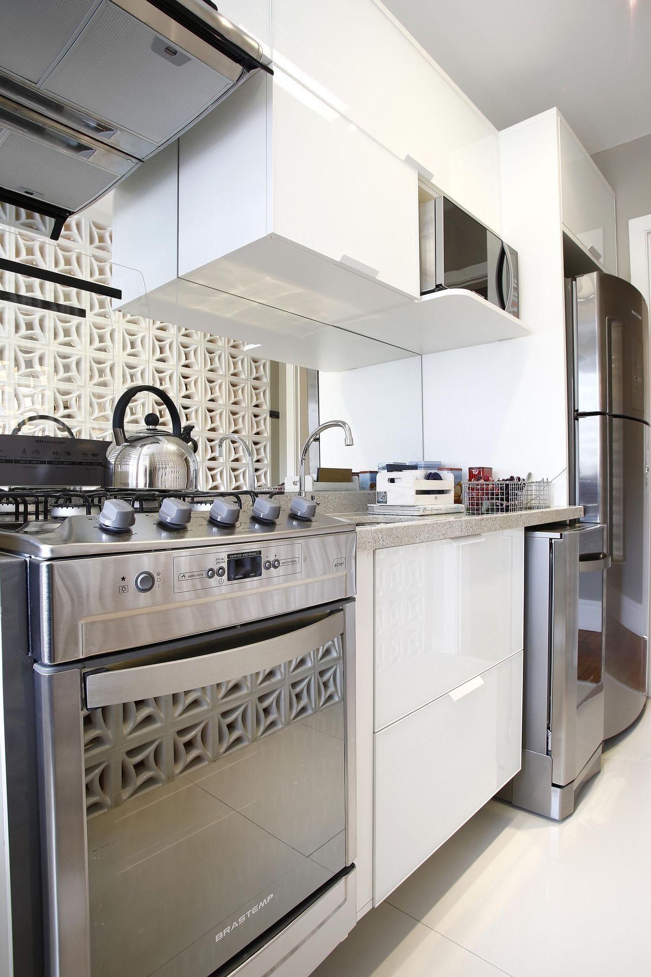 Granite countertops and built-in mirrored stove