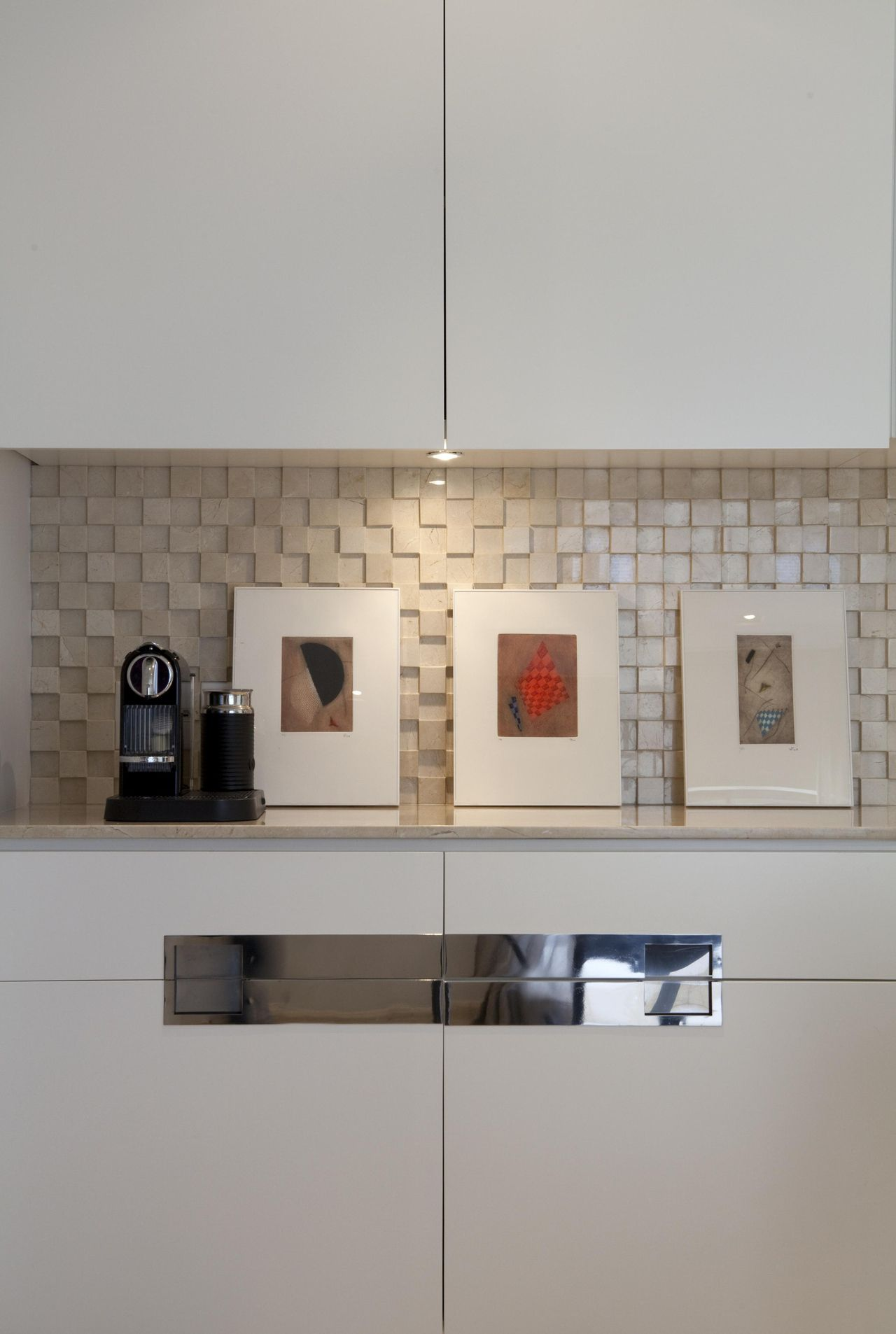 Kitchen with Niche Decorated with Pictures